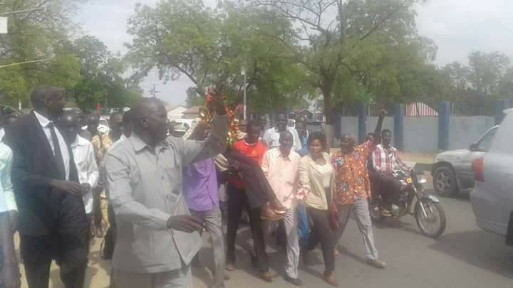 People of Ruweng protesting a decision by Salva Kiir to remove their governor and replacing him with a less popular politician(Photo: file)