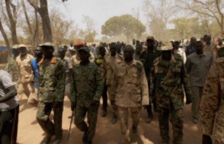 Forces of SPLM/A-IO under the leadership of Dr. Riek Machar Teny walking in Bazia, Wau State(Photo: file)