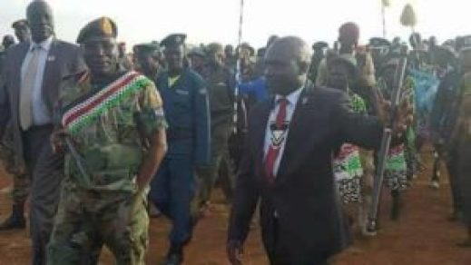 Gen. Paul Malong Awan, former South Sudan Chief of General Staff in Yirol after escaping from Juba soon after President Kiir fired him (Photo/extracted)