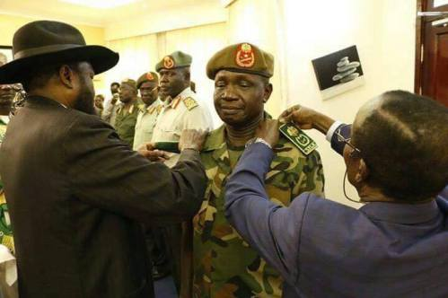 Gen. James Ajonga Mawut (center) promoted to South Sudan army chief of general staff (Photo/supplied)