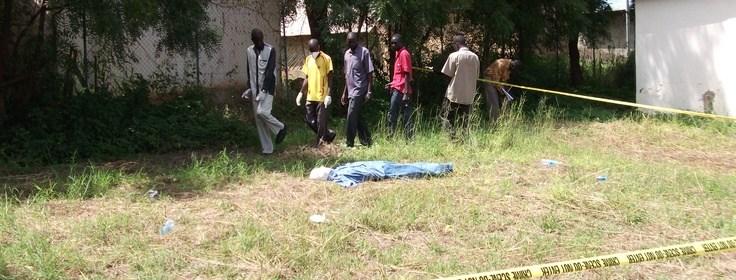 Course participants search the crime scene for physical evidence. CSI training Juba, South Sudan(Photo: file)