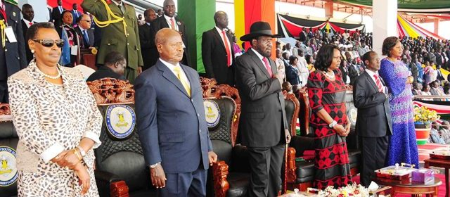 Museveni and his wife attends South Sudan independent day celebration in July 2014(Photo: file)