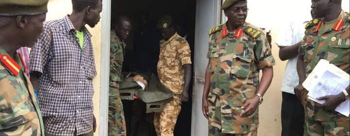 the body of the US Journalist, Christopher Allen, being given to US Embassy in South Sudan by the SPLA-ig(Photo: file)