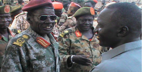 Left to Right: Lt. Gen. John Both Teny, H:E Phow State Governor, Johnson Kuol Gai and far center is Samuel Jok Kuach Toc, Division Seven Operations Commander(Photo: supplied)