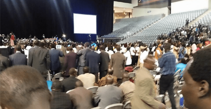 Dr. Riek Machar Teny briefs over 10, 000 South Sudanese opposition members in Omaha, Nebraska, in 2016(Photo: file)