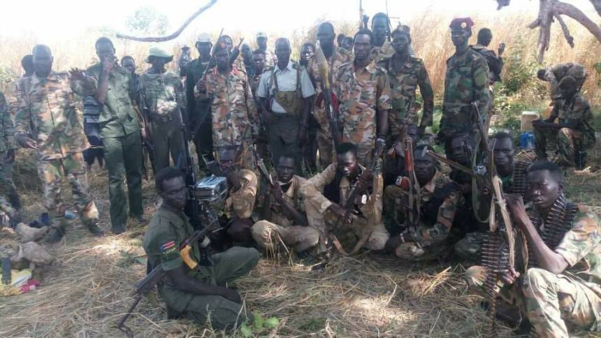 Lt. Col. Chan Garang Ding Lual and his soldiers being received by the SPLA-IO Maj. Gen. Benjamin Gore(Photo: supplied)