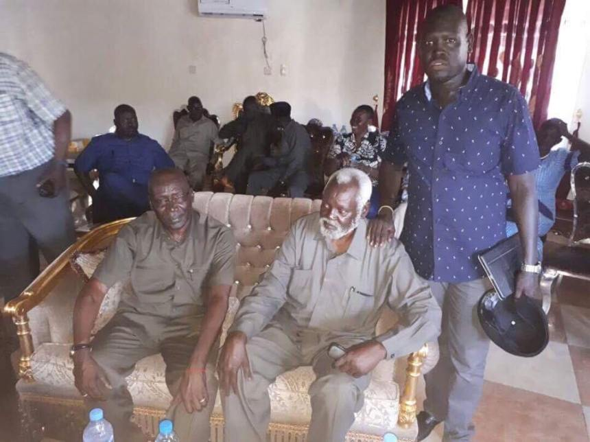 Gen. Paul Malong Awan and elders at his residence(Photo credit: Bol D. Meyin)