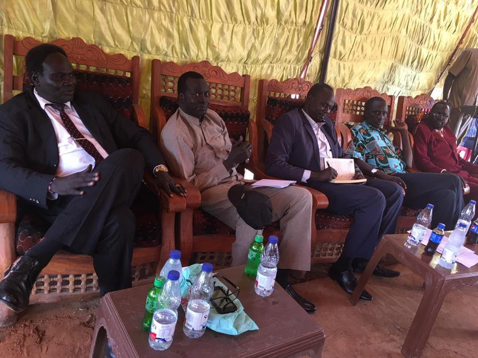 Brig. Gen. Tor Tungwar Kueiguong, the military governor of Lich State(center) with senior SPLM/A-IO leaders including Lt. Gen. Koang Chuol Ranley during Tungwar's inauguration in Khartoum, Sudan(Photo: file)