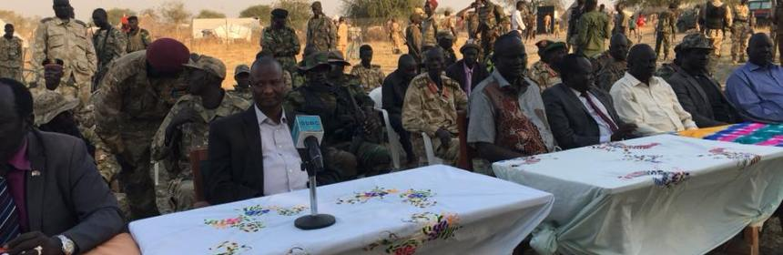 Gen. Taban Deng Gai and new Jonglei State governor, Hon. Philip Aguer, being welcome in the new Jonglei State(Photo: supplied)