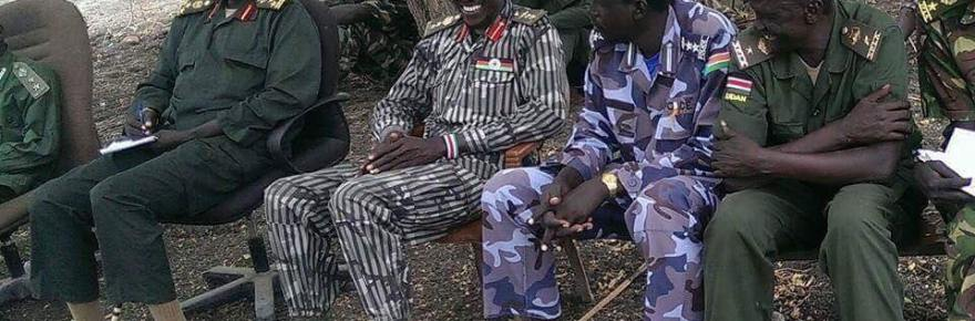 Major General Samuel Bidit Puot Abiath, with his officers in rebel held territory in 2014-5(Photo: file)