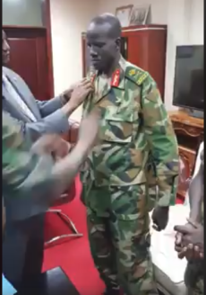 Major Gen. Abiath being promoted and dressed up by General Taban Deng Gai after his defection to Taban Camp in Juba....