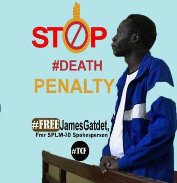 A trending image of a campaign on social media calling for immediate release of Ex-Machar's spokesman, James Gatdet Dak, who has been sentenced to death by Salva Kiir's regime(Photo: file)