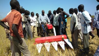 Mr. Daniel Rube Ateng, the Project Coordinator of EU Project and the government officials working with the Aweil Rice Scheme were trained by UNIDO on the proper use and basic maintenance of these equipment.(Photo credit: UNIDO/Nyamilepedia)