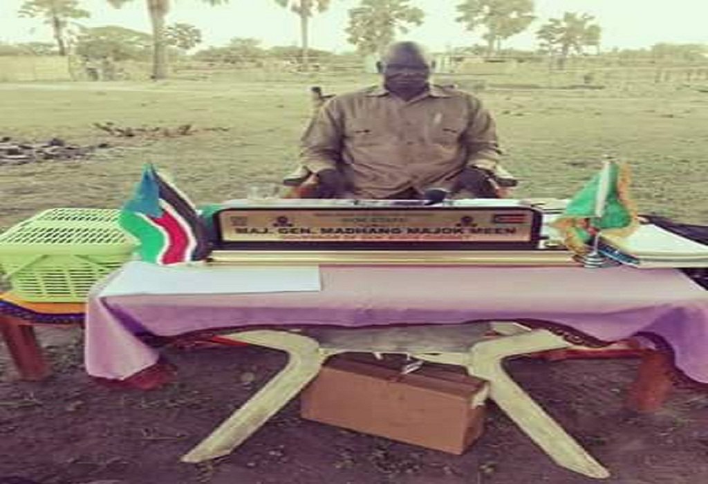 Gok State governor Major General, Madhang Majok Meen in a open-air office in Cueibet (File photo)