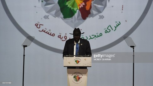 South Sudan's President Salva Kiir Mayardit addresses delegates during The India-Africa Summit in New Delhi on October 29, 2015. MONEY SHARMA/AFP/Getty Images)