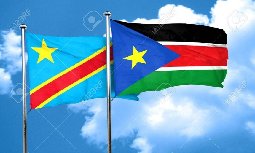 South Sudan and DR Congo flags (File photo)