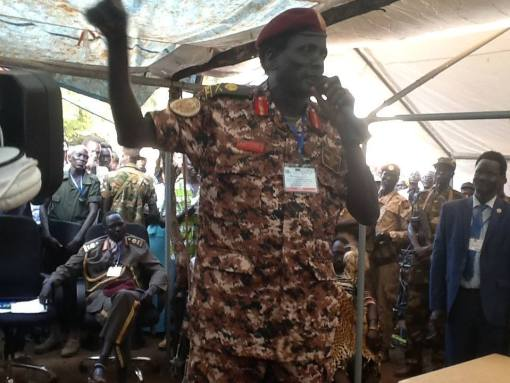 Peter Gatdet Yaka as he speaks during Pagak consultative meeting in Pagak South Sudan: December 2014 (File photo)