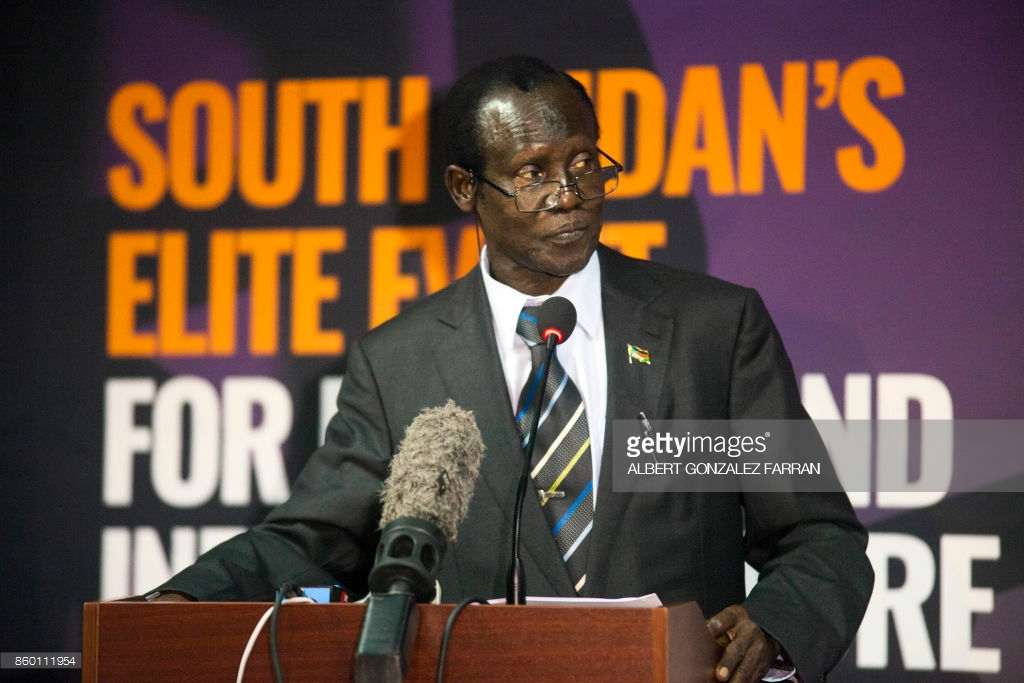 South Sudan's second vice-president, James Wani Igga (C) delivers a speech as part of the South Sudan Oil & Power 2017 conference in Juba, on October 11, 2017. Dozens of Industry experts, delegations from Sudan and Uganda, South Sudan government officials, and leaders from the private sector are meeting in this two-day conference to deal with energy and infrastructure issues and economical opportunities. / AFP PHOTO / Albert Gonzalez Farran