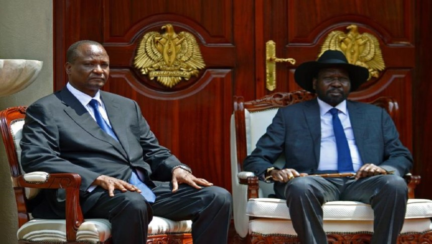 South Sudan's First Vice-President Taban Deng Gai (L) poses with President Salva Kiir (R) at the State House in Juba, July 26 after sworning-in ceremony. (Photo Credit: Samir Bol/AFP/Getty Images)