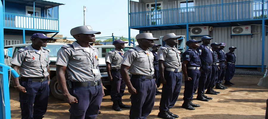 Members of the KASS security standing in a parade in Juba (Courtesy photo)