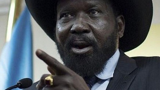 South Sudan's incumbent President, Gen. Salva Kiir Mayar, points at his opponents in a battle to consolidate power (Photo: file)