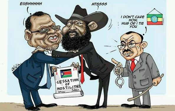 Cartoon portraying former Ethiopian Premier Hailamariam Dasalegn threatening South Sudanese leaders, Kiir and Machar to either accept peace or risk detention (File photo)