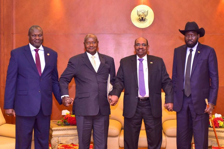 Dr Riek Machar, on extreme left, H.E President Yoweri Museveni, Next to Dr. Riek Machar, H.E President Omar Al Bashir, on the right of President Yoweri Museveni, H.E President Salva Kiir, on the extreme right in Khartoum on June 24th 2018 for South Sudan Peace Talks.(Photo: file/supplied/Nyamilepedia)
