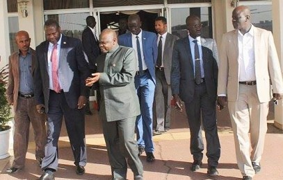 South Sudan's former First Vice-President Dr. Riek Machar Teny second from the left (File photo)