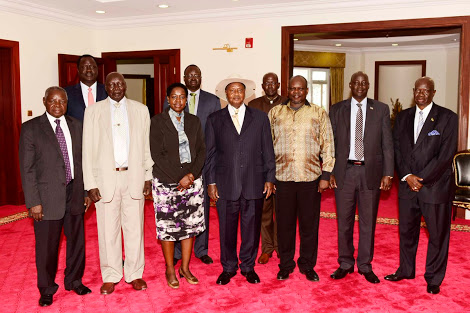 Representatives of SPLM factions meets Museveni in Kampala in 2017 (File photo)