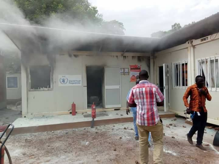Office of the UN world Food program as it is burned down in Maban (File photo)