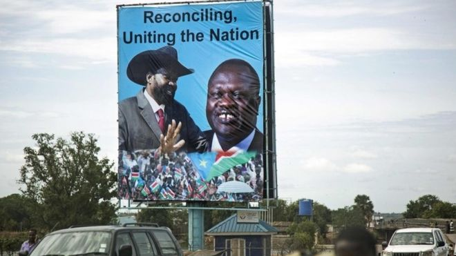 Posters of President Kiir and Opposition Leader Dr. riek Machar Teny-Dhurgon appears in Juba In April 2016 (Photo credit: BBC World Service)