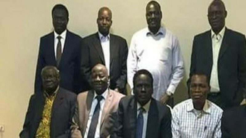 Leaders of the South Sudan Opposition Alliance posting for a photo in Addis Ababa in December 2017 (File Photo)