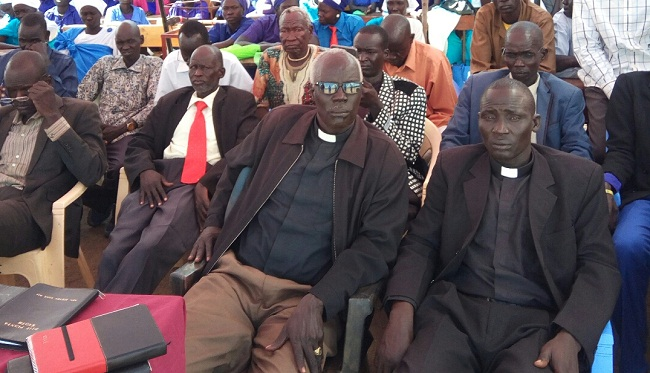 Church leaders as they attend a funeral for the late SPLM-IO Bieh State governor who died last month in Lankien County (Nyamilepedia photo)