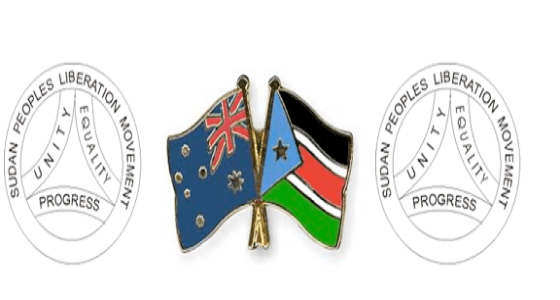 South Sudanese Australian flags inserted to a SPLM-IO logo (File photo)