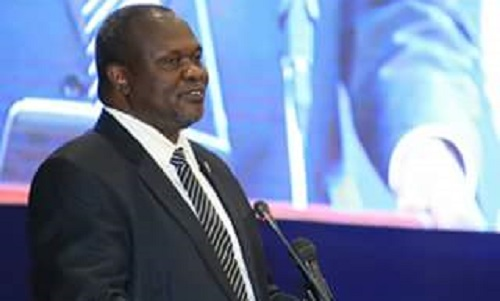 South Sudan's former First Vice President and SPLM-IO Chairman and Commander in Chief Dr. Riek Machar Teny-Dhurgon speaking during the signing ceremony on the agreement to end the South Sudan conflict (Photo Credit: Sudan News Agency)