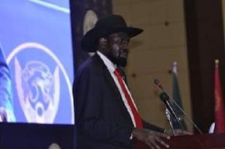 South Sudan President Salva Kiir Mayardiit speaking at the Friendship Hall in Khartoum, Sudan on August 5th 2018 (File photo)