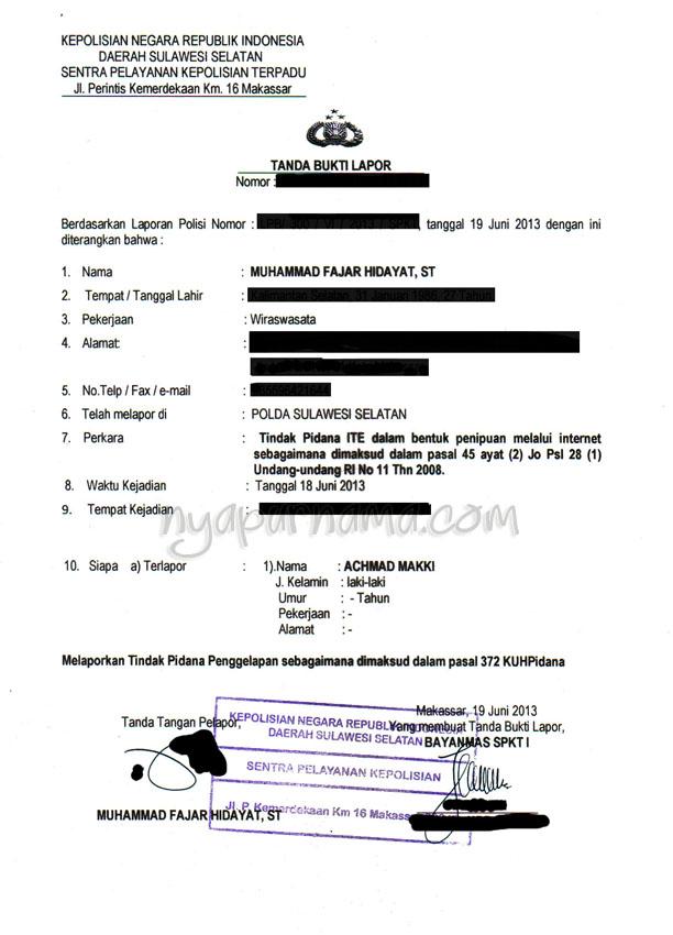 Surat Kronologis Kejadian Penipuan Cuitan Dokter