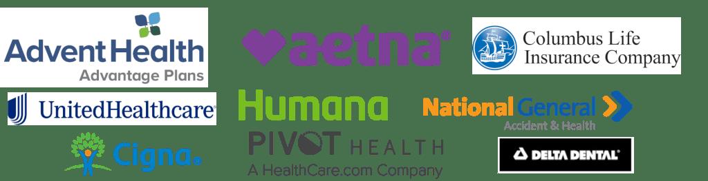 Health Insurance logos for advent health, aetna, columbus life, united health care, humana, national general, pivot health, cigna and delta dental