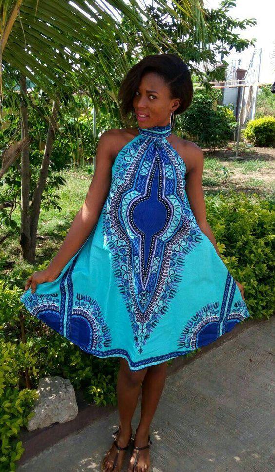 robe wax en tissu pagne bleu