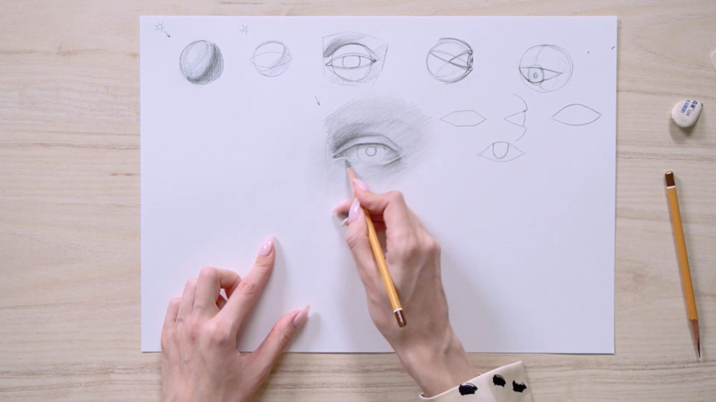 How to draw eyes with a pencil stages - Stage 10 - Photo
