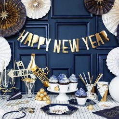 PartyDeco Banner Happy New Year, guld, 10 x 90 cm