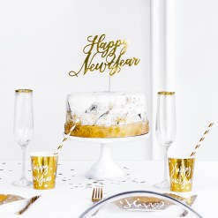 PartyDeco Kage topper Happy New Year, guld, 24 cm