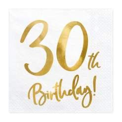 PartyDeco Servietter 30th Birthday, Hvid
