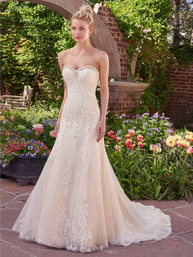 Busty corset wedding dress