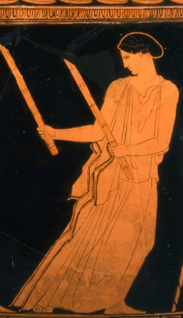 Close-up of Hecate carrying her torches.