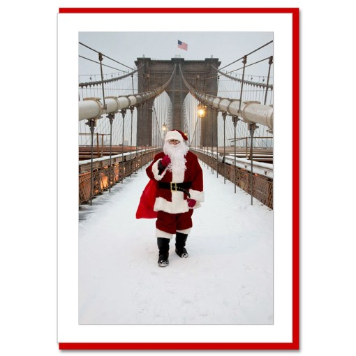 Santa on Brooklyn Bridge Handmade Photo Card from NYChristmasGifts.com