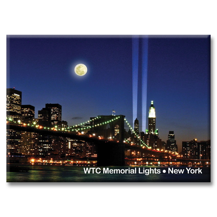 Brooklyn Bridge and WTC Memorial Lights – New York Photo Magnet