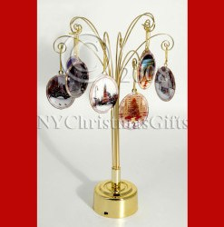 Christmas in New York 10 Ornaments and Rotating Display Ultimate Gift Set