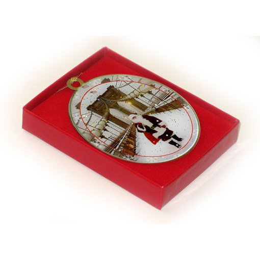 Santa on Brooklyn Bridge New York Christmas Ornament in a Gifts Box