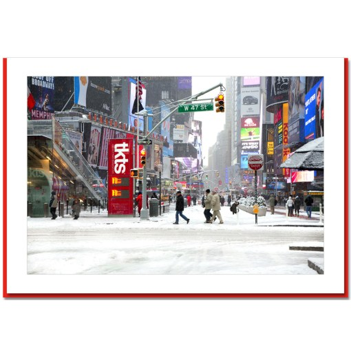 Snow on Times Square Ticket Line - Handmade Photo Card